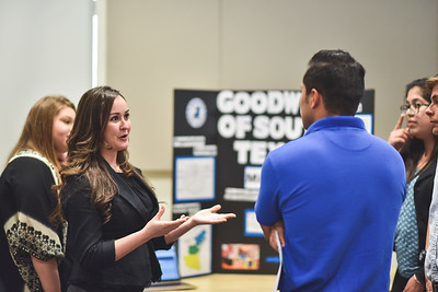 Stephanie Parlamas speaks to Sebastian Gorzon during the Social Entreprenuership presentations.