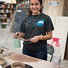 Student Esperanza Gomez creates clay coils during Ceramics I.