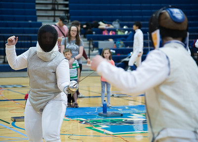 Savannah Stilwell competes during a fencing match in the Dugan Wellness Center.