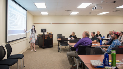 Dr. Yuliana Zaikman, Assistant Professor of Psychology, speaks to a classroom of faculty members during the Team Building Leadership Workshop.