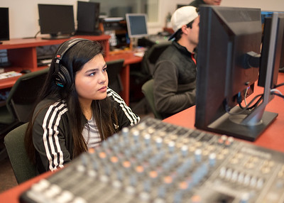 Student Amber Barcenas works on creating a beat in Applications of Music Technology.