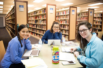 Thalia Humerez (left) , Danielle Ramierez, and Megan Penning study for their classes in the Mary and Jell Bell Library.