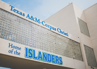 The Home of the Islanders sign is displayed on the second floor walkway between the Center for Science and the Center for Instruction.