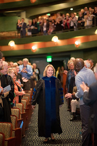 A round of applause goes out to Kelly M. Quintanilla, President and CEO of TAMU-CC, as she walks toward the stage during the President's Inauguration Ceremony in the Performing Arts Center.