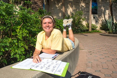 Ashlynn Kolmansberg studies for her Life Science class in the Hector P. Garcia Plaza.