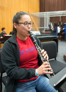 "Student Adriana Hinojosa plays Sonata in ""F"" By Handel in the Center for Arts."