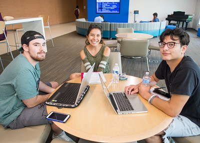 Nicolas Perez (left), Heather Arredondo, and Mason Mross work on their summer class schedules in the University Center Tejas Lounge.  For more information on Summer/Fall 2018 course offerings: http://bit.ly/GUvnqd