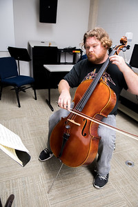 "Michael Reeves practices performing the piece, ""Bach Suite II Sara Bande"" on his cello."
