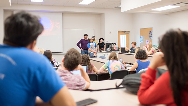 Students perform scenes from plays during their Literary Studies class.