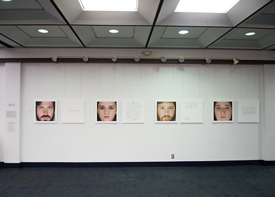 "The second floor of the Mary and Jeff Bell Library features the Bachelor of Fine Arts (BFA) exhibition, ""LOOKING,"" created by Islander student Robert T. Neal."