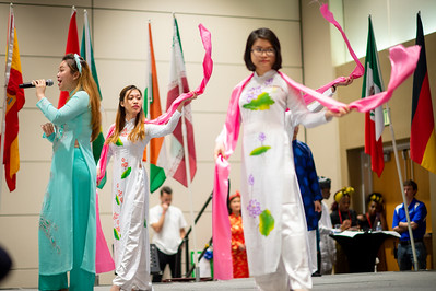 International students showcase their culture through performances in front of audience members during Parade of Nations.