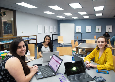 Maranda Willborn (left), Jazmin Tejada, and Alyssa Dinn work on their class presentations at the Mary and Jeff Bell Library.