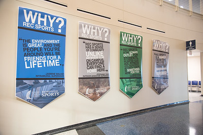 Recreational Sports banners hang on the walls inside of the Dugan Wellness Center.   Check out more information on services provided by Rec Sports at: http://bit.ly/2Gjn8UG