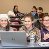 Allie Krueger (left), Morgan Rizzuto, and Marisa Bauer pause for a photo during their Epidemiology class in the Center for Instruction building.