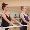 Students Siobhan O'Reilly (left) and Allison McCaughey before beginning practice during Ballet I.