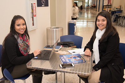 Marielli Torres (left) and Irma Elizondo study for their Kinetic Anatomy and Forensic Psychology classes.