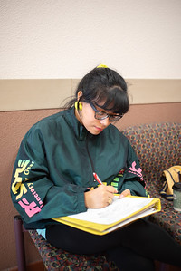 Sophomore Millicent Alvarado sketches for her sculpture class at the Center of Instruction.