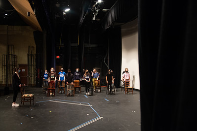 Kelly Russell's Class rehearses a piece of Book of Day's play in the Center of the Arts.