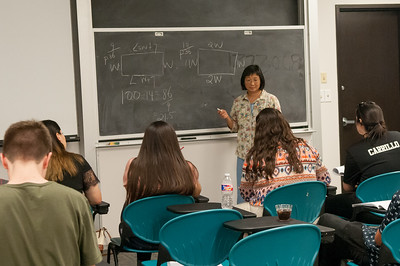 Dr. Charlene Tintera gives a lecture for the College 101 event on campus.