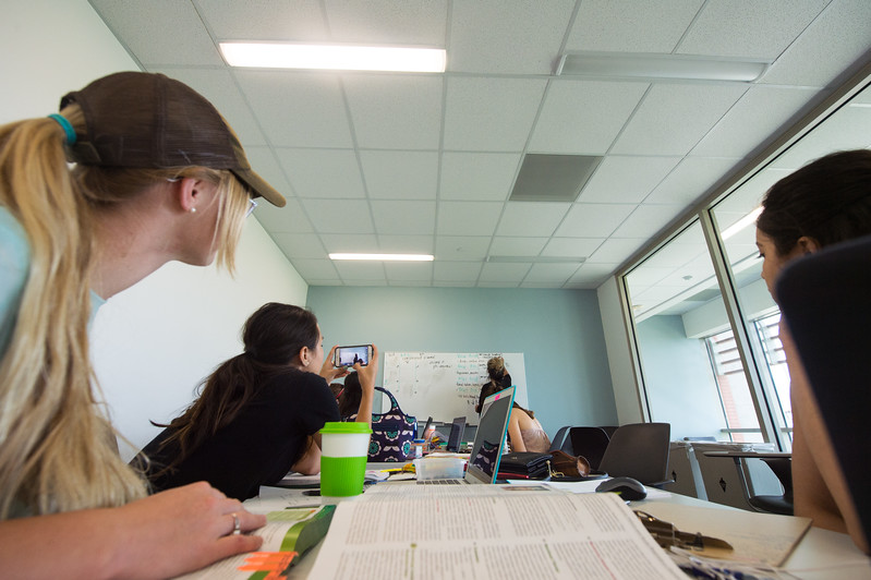 Students from the College of Nursing study for a exam in a break out room in the O'Conner Building