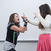 Laura Janney (left) and Raven Reese are participating in the lips sync battle game