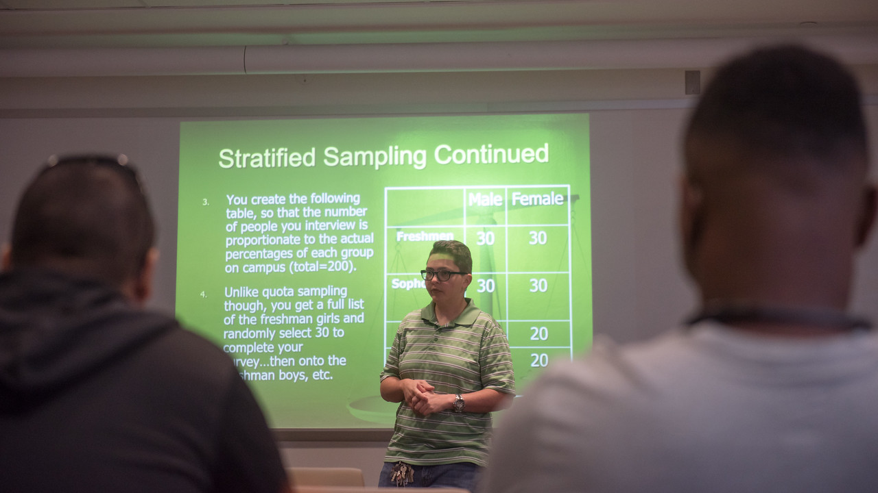 Dr. Pollock gives a presentation on Stratified Sampling during the Criminal Justice class.