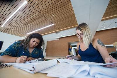 Sydney Garcia (left) and Lisette Alcocer take time to study in the Tejas Lounge at the TAMU-CC University Center.