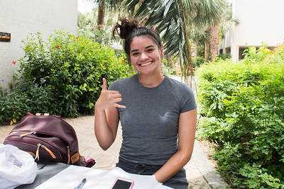 Jacauelyn Olivares catches up on studying outside of the Faculty Center.
