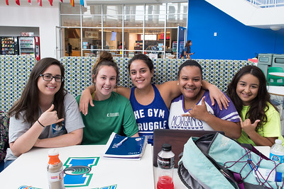 Danielle Pillsbur (left), Joelle Boudouris, Erin Martinez, Bianca Lucas, and Maegan Guerra collaborate on their studies in the University Center.