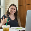 Anualisa Garza studies for an exam before her class in the O'Connor Building.