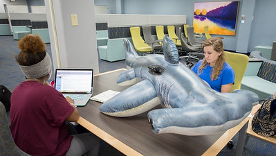 Hunter the Hammerhead collaborates with nursing students Antonia Cannon (left) and Taylor Brown on an assignment  at the Mary and Jeff Bell Library.  Learn about TAMU-CC's participation in Shark Week:  http://bit.ly/2uIUKYq