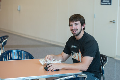 Shaun Kubera enjoys breakfast before going to class in Island Hall.