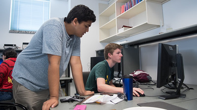 Vedant Chopra (left) mentors Andrew Mistele on the 3-D modeling via AutoDesk at the CAD design workshop.  To learn more about our STEM summer camps, click here: http://sci.tamucc.edu/ENGR/stemsi/