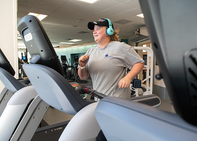 Sam Krause runs on one of the treadmills located in the Dugan Wellness Center gym.   Check out the Dugan Wellness Center's summer hours: http://bit.ly/2LU9yJg