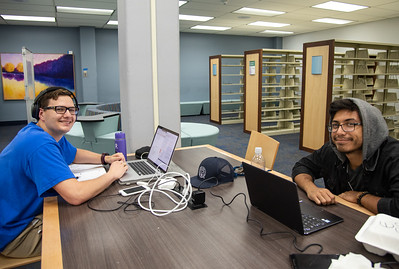 Andrew Luna (left) and Harris Hipp come by Mary and Jeff bell Library after class to work on their Discrete Math assigemnts