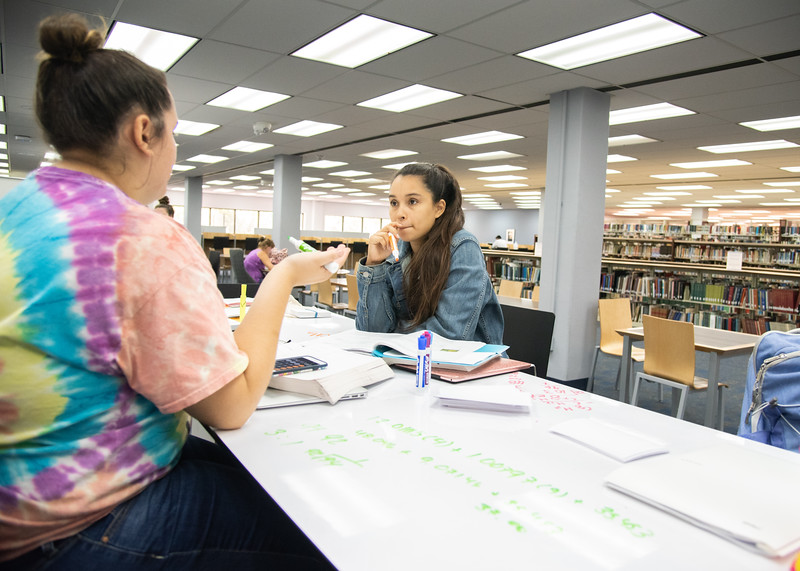 Anabel Roeder (left) and Victoria Quinones work on their Organic Chemistry assignments together on the second floor of the Mary and Jeff Bell Library.