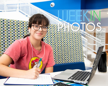 Daisy Fuentes listens to music while she works on her Biology assignments in the University Center Rotunda.