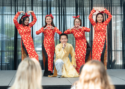 Members of the Vietnamese Student Association perform various dances and songs for high school students from sister cities in Japan, Taiwan, and France and high school students from Corpus Christi.