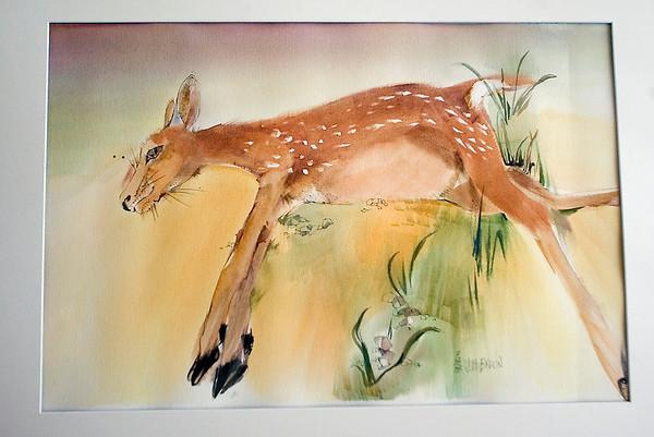 Record-Eagle/Jan-Michael Stump<br /> A roadkill fawn painted by Elk Rapids artist Joani Braun.