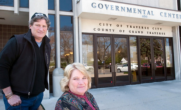 Record-Eagle/Douglas Tesner<br /> Traverse City Commissioners Jim Carruthers, left, and Barbara Budros want to examine the city's relationship with TCL&P.