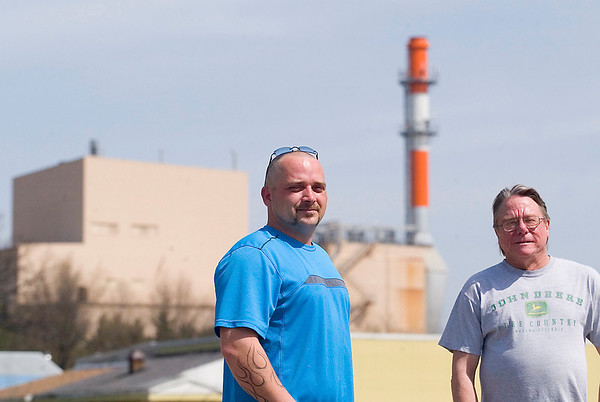 "Record-Eagle/Jan-Michael Stump<br /> Rob VandeWater, left, and Craig Walworth live with Cadillac Renewable Energy in their backyards. ""It'll be the worst mistake they've probably ever made,"" Walworth said of a similar plant that's a possibility for Traverse City."
