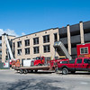 Record-Eagle/Douglas Tesner<br /> Construction is humming along at Traverse City's four-level parking deck in Old Town. City officials said work on the $7.9 million project is ahead of schedule and said the deck could be open by mid-August.