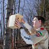Record-Eagle/Sheri McWhirter<br /> Eagle Scout Blake Ensign, 16, of Interlochen, secures a wooden bird house to a tree on the side of a hill near West Grand Traverse Bay in Leelanau County.