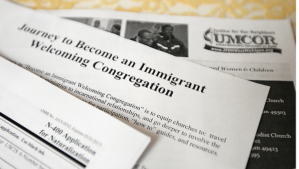 Record-Eagle/Keith King<br /> Documents and information about immigration.