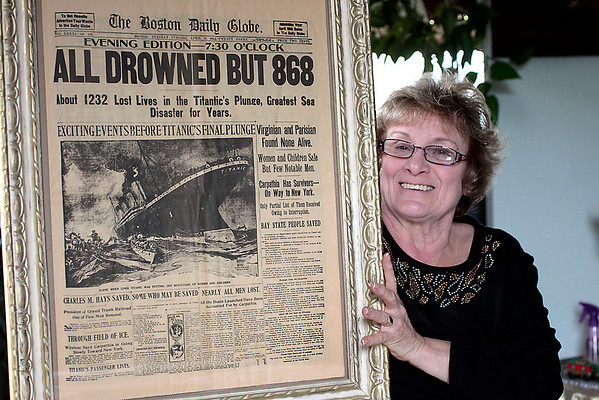 Record-Eagle/Jan-Michael Stump<br /> A friend gave Mary Gore the Tuesday, April 16, 1912 edition of the Boston Daily Globe reporting on the Titanic disaster, which she keeps framed in her home.