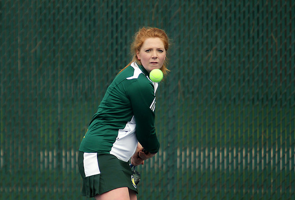 Record-Eagle/Keith King<br /> Traverse City West's Erin Goodell competes at number two singles Thursday, April 19, 2012 during the girls Up North Invitational at Traverse City Central High School.