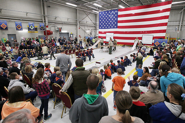 Record-Eagle/Keith King <br /> The Boy Scouts of America Bay Trails District Pinewood Derby Finals takes place at the United States Coast Guard Air Station Traverse City hangar.