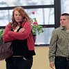 Record-Eagle/Jan-Michael Stump<br /> Traverse City High School students Stephanie Huft-Robbins, left, and Rey Ver Strat rehearse a scene on hate crimes from their Voices of Traverse City project, which student wrote the material that will be performed on May 8 at the Dennos Museum Center.