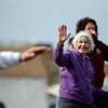 Record-Eagle/Jan-Michael Stump<br /> Shirley Bowman, of Traverse City, smiles while practicing Tai Chi, led by James Adkins, with nearly 40 other people at the Open Space Saturday morning for World Tai Chi Day.