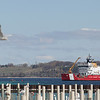 Record-Eagle/Keith King<br /> The United States Coast Guard Cutter Mackinaw operates in West Grand Traverse Bay Wednesday, April 11, 2012 for buoy-tending operations.